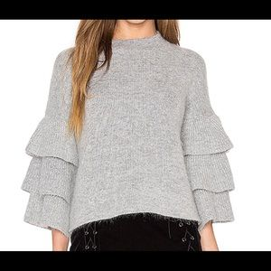 ENDLESS ROSE exaggerated sleeves grey sweater